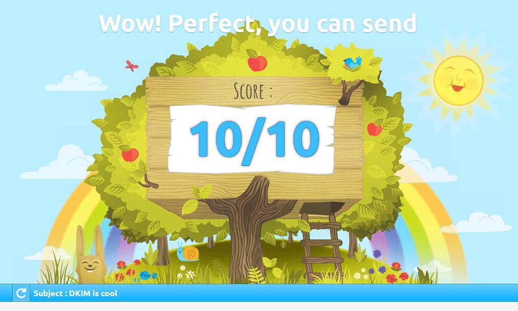 10/10 score met DKIM