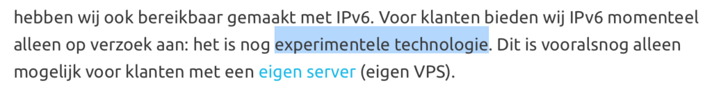 "IPv6 is ""experimentele techologie"""